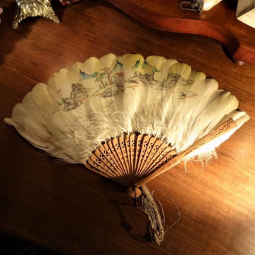 Exquisite Japanese Yellow Hand Painted Feather Fan
